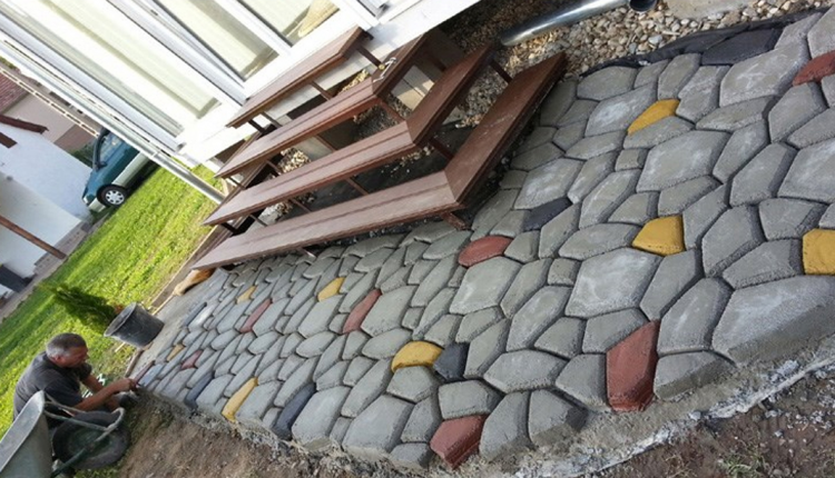 Buy paving stone at a local home improvement