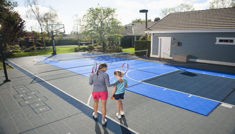 Sports Home with a Backyard Court